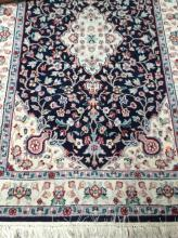 Oriental Area Rug Floral, Sapphire Background