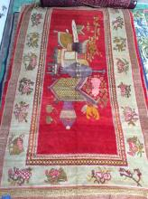 Hand Woven Oriental Area Rug, Red & Tan Bkgd