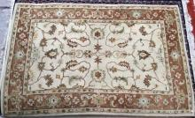 Oriental Machine Woven Area Rug, Cream Bkgd