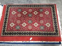 Machine Woven Oriental Area Rug, Red Bkgd