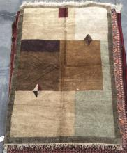 Hand Woven Silk Modern Area Rug, Earth Tones