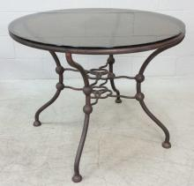 Wrought Iron Glass Top Patio Table