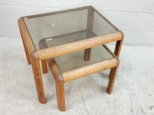 2pc. Oak Glass Inlay Nesting Side Tables