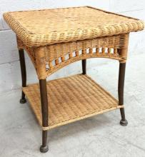 Woven Wicker Accent Table
