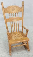 20th C. Oak Cane Bottom Childs Rocking Chair