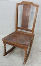 20th C. Barley Twist Rustic Rocking Chair