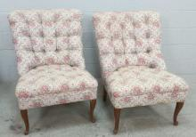 2pc. 20th C. Tufted Floral Occasional Chairs