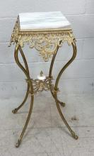 Elegant Brass Tone Marble Top Accent Table