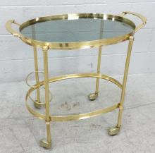 Brass Tone Rolling Bar Cart