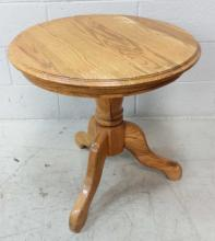20th C. Round Oak Accent Table