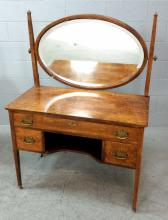 20th C. Burl Veneer Wood Vanity w/ Mirror