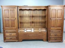 3pc. Thomasville Oak Headboard & Side Cabinets