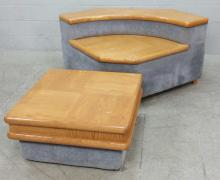 2pc. Upholstered Wood Top Corner & Coffee Tables