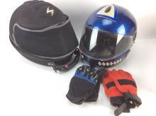 Motorcycle Helmet & Gloves w/ Painters Suit