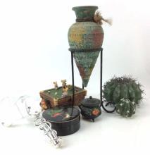Coasters, Vase, Faux Cacti, & Decor
