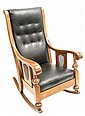 English Oak and Leather Rocking Chair