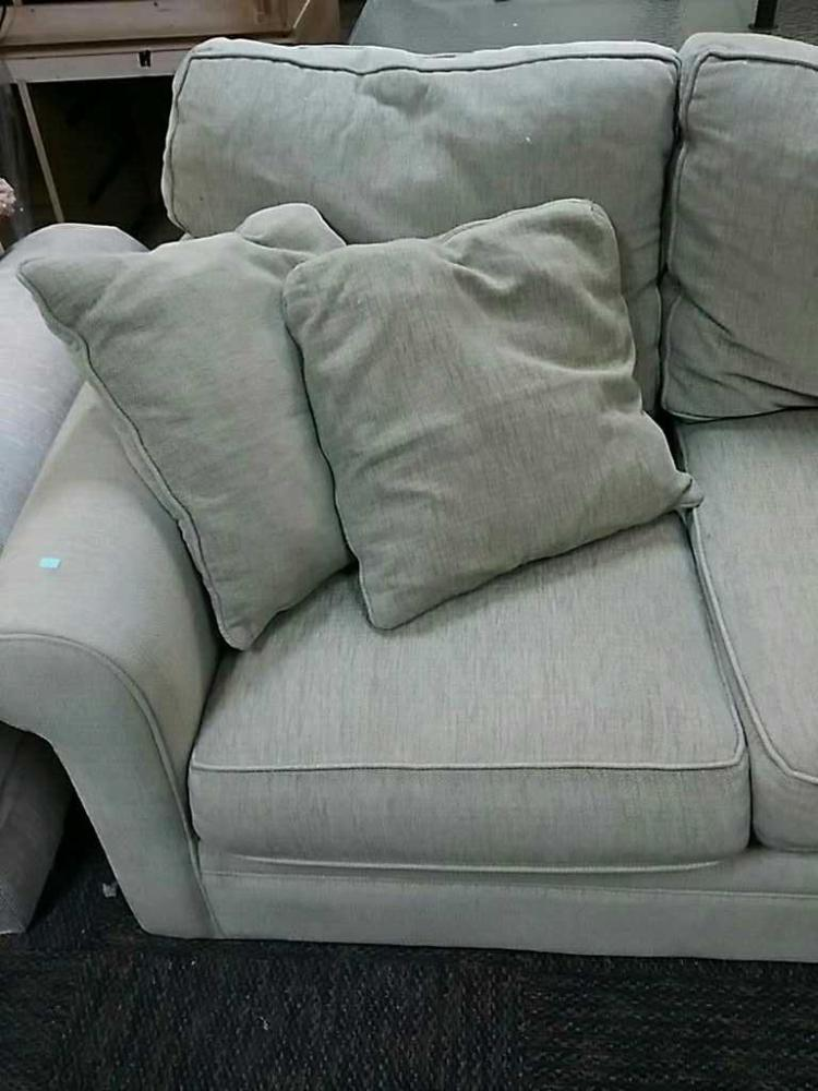 upholstered sofa with matching throw pillows good used condi. Black Bedroom Furniture Sets. Home Design Ideas