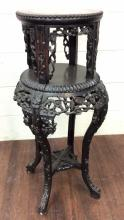 Ornate Asian Carved Wood 2 Tier Accent Table