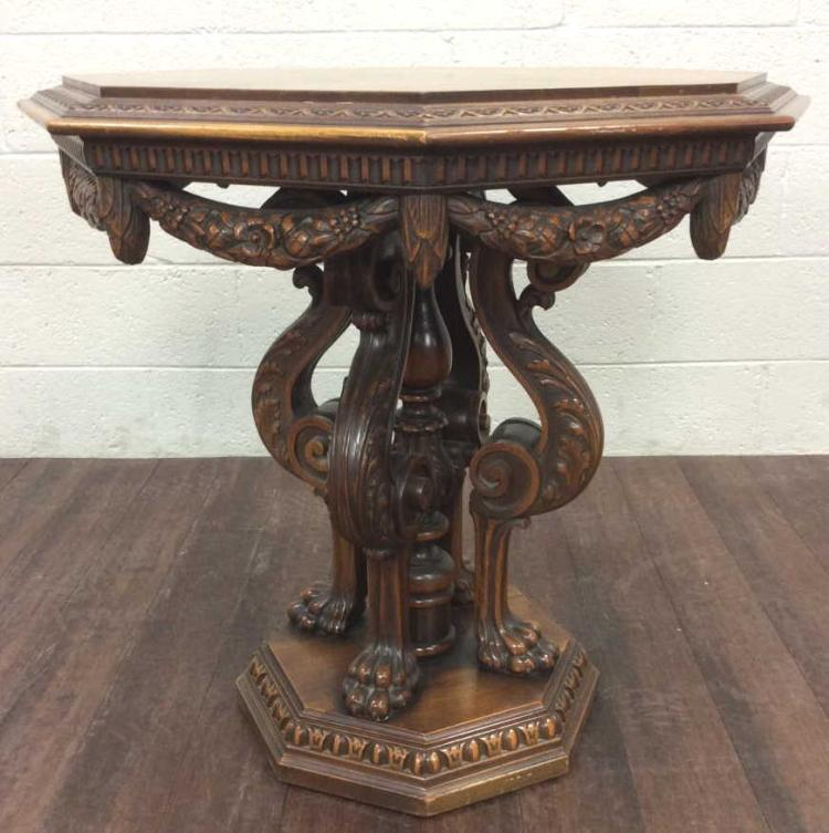 19th C. Ornate Wood Inlay Octagonal Accent Table