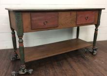 Southwestern Hand Painted Wood Console Table