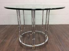 Contemporary Metal Base Glass Top Dinning Table