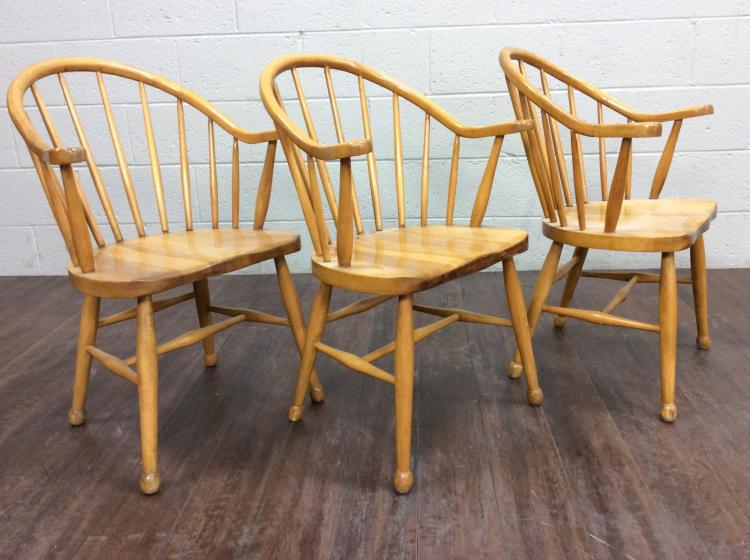 3Pc. Windsor Style Wood Chairs