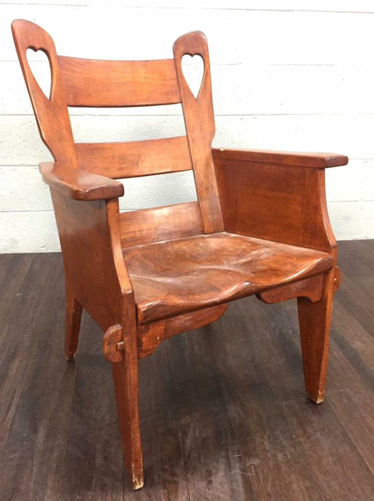 Vtg. Arts & Crafts Wood Heart Side Chair