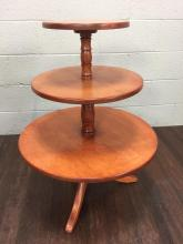 20th C. Wood 3 Tier Dumb Waiter Table
