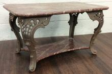 20th C. Cast Iron & Speckled Wood Coffee Table