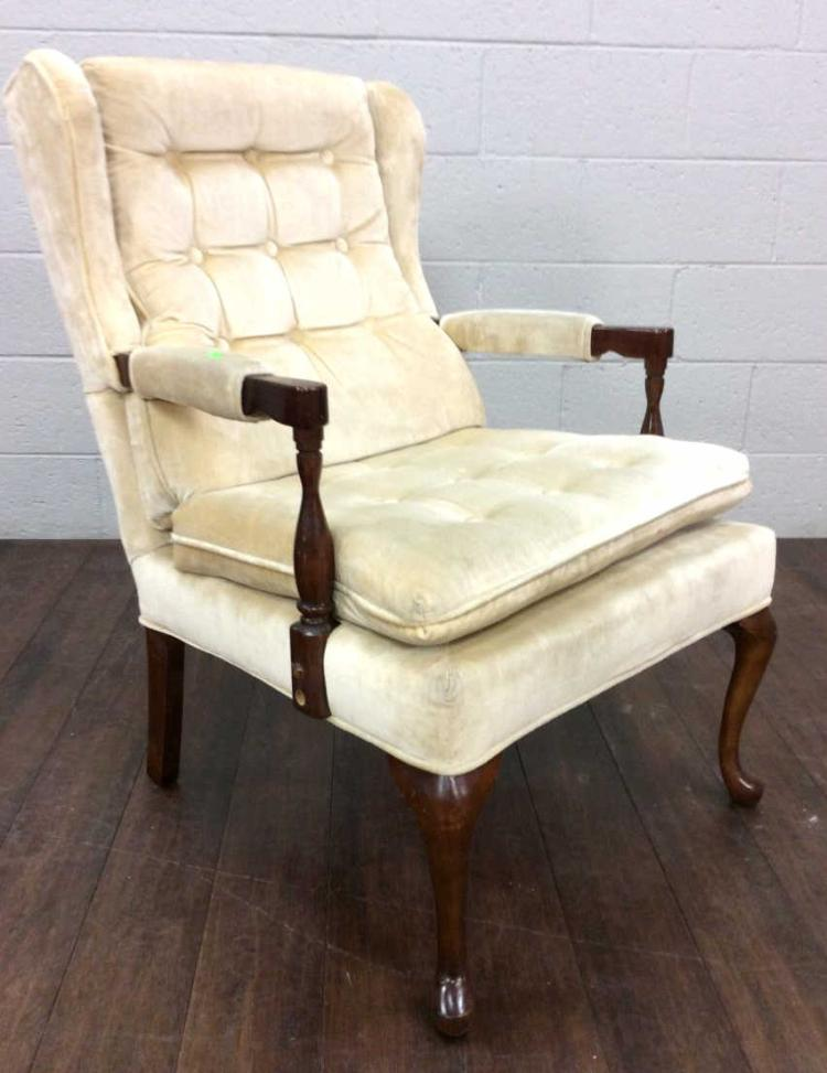 Vtg. Null Wingback Tufted Upholstered Arm Chair