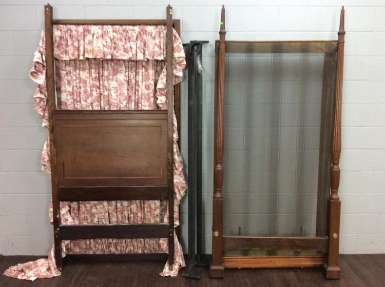 Early 20th C. Wood Canopy Twin Bed Set
