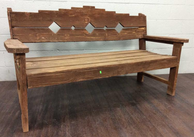 Rustic Pine Wood Patio Bench