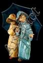 Lladro Retired # 2077 Under The Rain Figurine