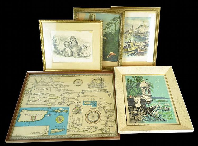 Lot of 5 prints & frames.