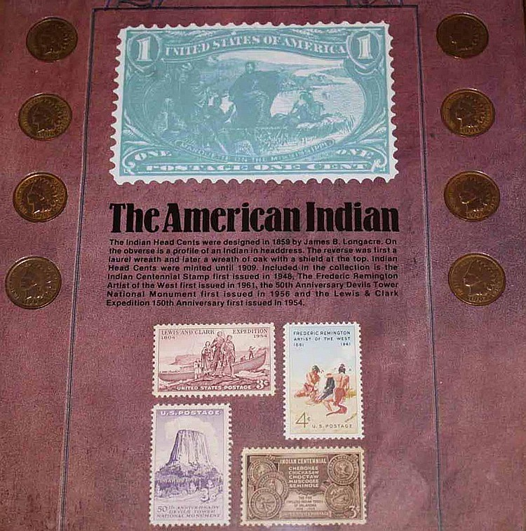 Lot of 4 Western Coin  &  Stamp Sets - The Forty Niners, The Trailblazers, The Pioneers, The American Indian