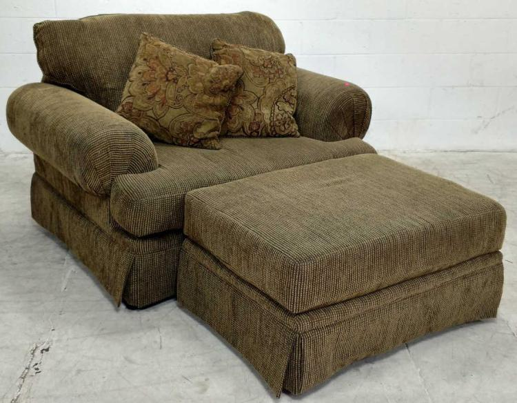 Rolled arm skirted oversized chair ottoman