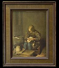 Print #264, Boy Fleaing His Dog by Gerard Terborch