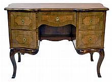 Vintage Inlay Mahogany Desk with Burl Wood