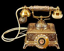 Antique-Style Cradle Phone w/ Rotary Dial