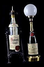 Moet & Chandon Champagne Bottle Lamp, Asbach Uralt