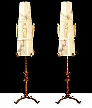 2 Vintage Iron Lamps, Alabaster Shades w/ Figures
