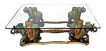 Polychromatic & Gilt Carved Wood Elephant Table
