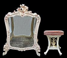 Vintage Serpentine Glass Cabinet & Stool, Pink