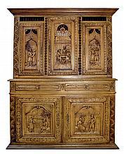 Dutch Oak Hutch, Carved Doors