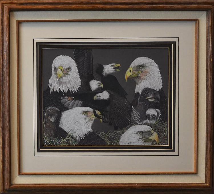 Dick Bramwell (20th/21st C.) Eagle Pastel Drawing
