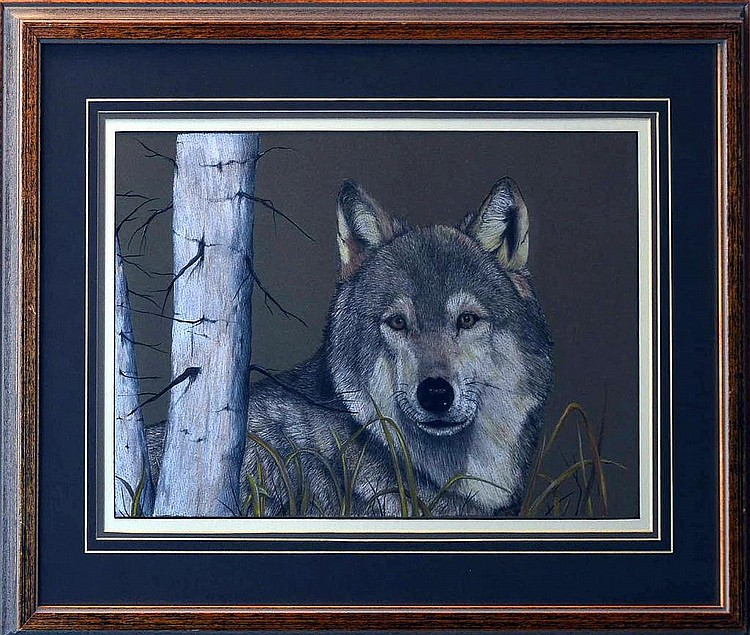 Dick Bramwell (20th/21st C.) Wolf Pencil Drawing