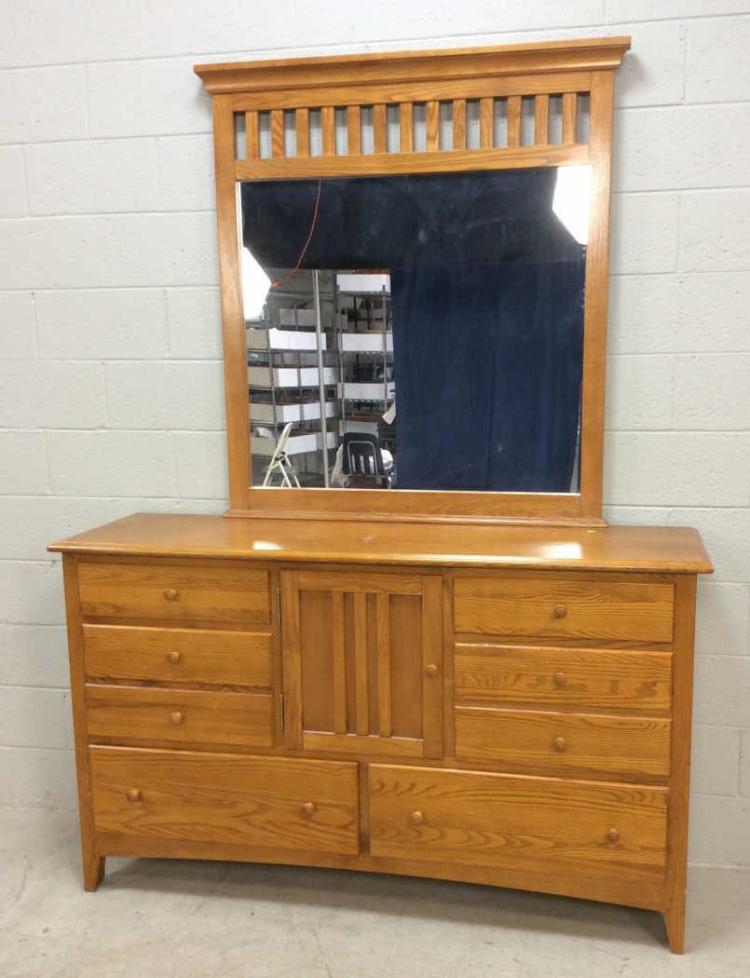 Mission Style Wood Dresser W Mirror