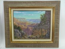 Signed Grand Canyon View Oil on Canvas