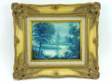 C. Alvarez River Corner Landscape Oil on Board