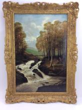 Edward Priestley River Landscape Oil on Canvas